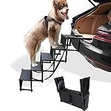 petshug 5 Steps Increased Nonslip Dog Car Ramp, Folding Metal Frame Cat Dog Stairs for High Beds, Trucks, Cars and SUV, Adjustable Lightweight Pet Ladder Support 150lb Large Dogs