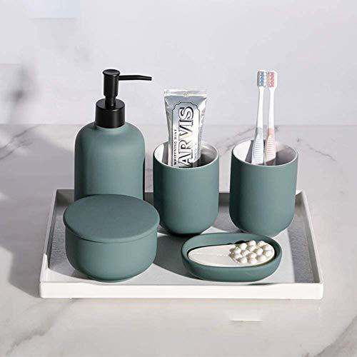 LIUJIE Badezimmer Zubehör Sets Badezimmer Set 4,5,60 Stück Keramik Badezimmerlotion Spender, Seifenschale, Zahnbürstenhalter, Zahnbecher, Tablett,Grün,6 Piece Set