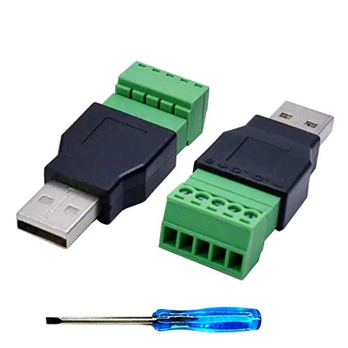 Greluma 2 Piezas Conector de Bloque de Terminales de Tornillo USB 2.0 A con un Destornillador, Enchufe Macho USB 2.0 A a Perno Hembra de 5 Pines