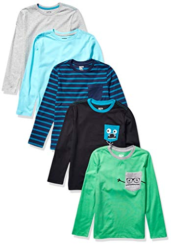 Amazon Brand - Spotted Zebra Kids Boys Long-Sleeve T-Shirts, 5-Pack Chompers, Small