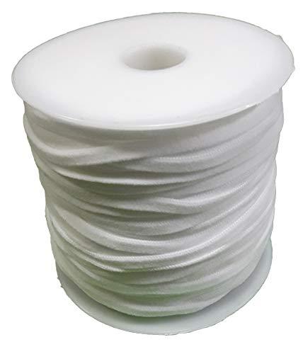 Polytags ELASTIK 148-77000401 - Fascia elastica per maschere in tessuto, rotolo da 50 m, 5 mm, 60% nylon, 40% elastan, colore: Bianco