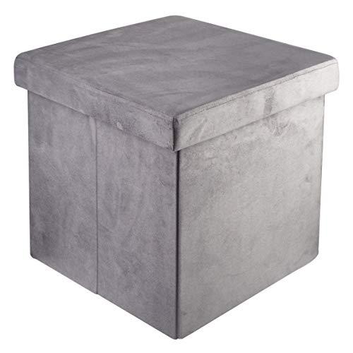 pouf contenitore velluto grigio Baroni Home Pouf Cubo Poggiapiedi Sgabello Contenitore Pieghevole in Velluto Imbottito Grigio 38x38x38 cm