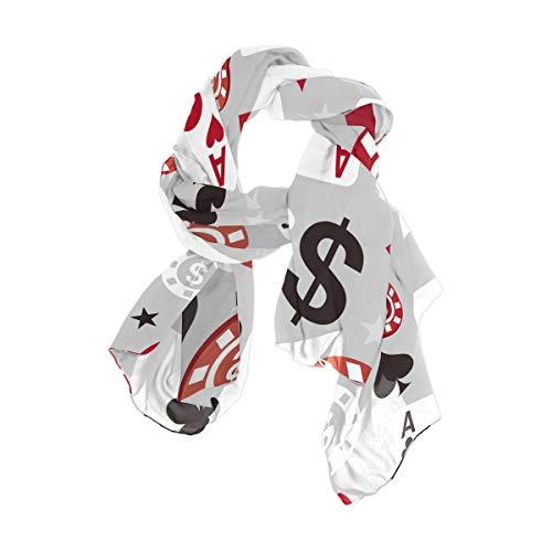 NaiiaN Leichte quadratische Taschentuch-Vögel für Frauen-Mädchen-Damenbevorzugungs-Kopf wickelt Schal-Schal-Kartenspiel-Poker-nahtloses Muster 90x180 cm-Druck ein
