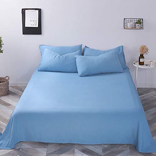 Colcha a Prueba de Polvo y sin Pelusa, sábanas de algodón Puro monocromáticas, combinación de sábana + Funda de Almohada, Ropa de Cama en Azul Denim (para una Cama de 2 Metros)