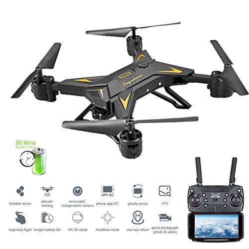 ASHOP Drohne mit Kamera HD, KY601S WIFI FPV faltbarer Arm Selfie Brummen Drone 6Axis 2.4G 4CH RC Quadcopter (Schwarz, One Size)