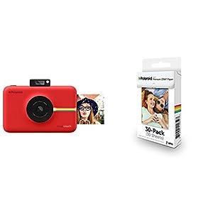 Polaroid Snap Touch cámara digital con impresión instantánea y pantalla LCD (rojo) con tecnología Zero Zink + Polaroid Premium Zink Paper - Paquete de 30 papeles fotográficos (compatibles con Polaroid Snap Z2300, Socialmatic y la impresora móvil ZIP, 5 x 7.6 cm), color blanco
