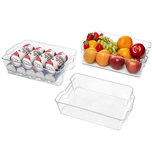 Kurtzy Große Aufbewahrungsboxen für Kühlschrank, Küche, Schränke (3 STK) –Plastik Organizer 32,5cm Lang, Ordnungssystem Transparent für Bad, Speisekammer, Schublade, Gefrierschrank, Aufbewahrung