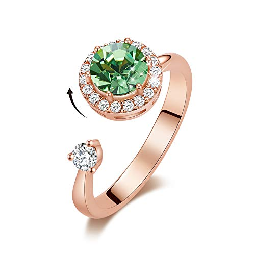 CDE August Birthstone Rings for Girls Green Jewelry Ring Birthday Christmas Gift for Women Mom