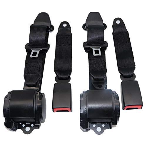 WASTOREEL 3 Point Universal Car Seat Belt, Adjustable Retractable Safety Belt for Trucks Forklifts Buses Go-karts, 2 sets