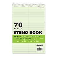 BAZIC ステノブック Gregg 罫線入りグリーンティント 70ページ 6インチ x 9インチ (4パック)