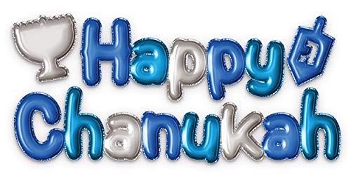 Hanukkah Banner - Happy Chanukah 3D Wall Sticker - Blue and Silver Ombre Hanukkah Décor