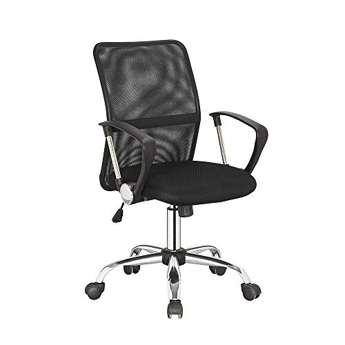 IDS Online Office Ergonomic & Comfortable Home & Office Desk Swivel, Breathable & Durable Mesh Mid Back, Adjustable & Stylish Computer Chair, Black