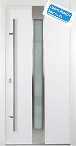Aluminium Haustür AR-G 05/68 68 mm weiß Energiesparhaustür mit Edelstahl-Stoßgriff rund 1600 mm + Innendrücker von Online-Fenster-Kaufen (1000mmx2000mm DIN links)