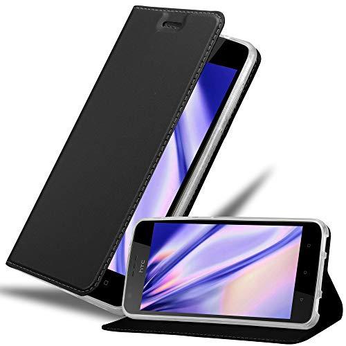 Cadorabo Hülle für HTC Desire 10 Lifestyle/Desire 825 - Hülle in SCHWARZ – Handyhülle mit Standfunktion & Kartenfach im Metallic Erscheinungsbild - Hülle Cover Schutzhülle Etui Tasche Book Klapp Style
