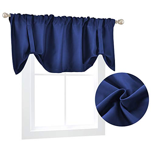 Blue Blackout Valance for Windows Treatments Boys Kids Room Tie Up Curtain Valance 18 Inch Long Adjustable Valance Rod Pocket Tie-up Valance Curtain for Bedroom Kitchen 52X18 Inch Navy Blue