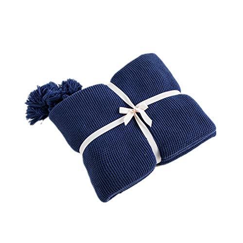 ZLDMYC Sofá Manta Azul de Punto la Manta del Tiro sólido Manta Suave borlas del hogar del Recorrido del sofá Silla Sofá Cama 50x62inch