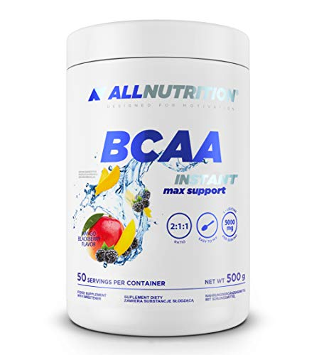 ALLNUTRITION BCAA Pulver mit Aminosäuren Komplex hochdosiert, enthält Glutamin, Leucin, Valin, Isoleucin und Taurin | BCAA MAX SUPPORT (Mango-Blackberry)