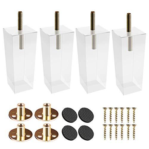 10cm Acryl Möbelfüße, Btowin 4 Stück Pyramide Glas Klar Tischbeine Möbelbeine mit vorgebohrten M8 5/16
