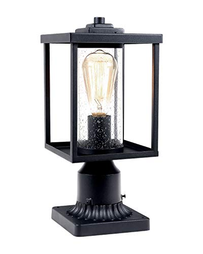 JAZAVA Outdoor Post Light Fixtures, Exterior Post Lights Pier Mount Lights LED Street Light for Patio Entryway, One-Light with 3-Inch Pier Mount Base, Black Finish Seeded Glass
