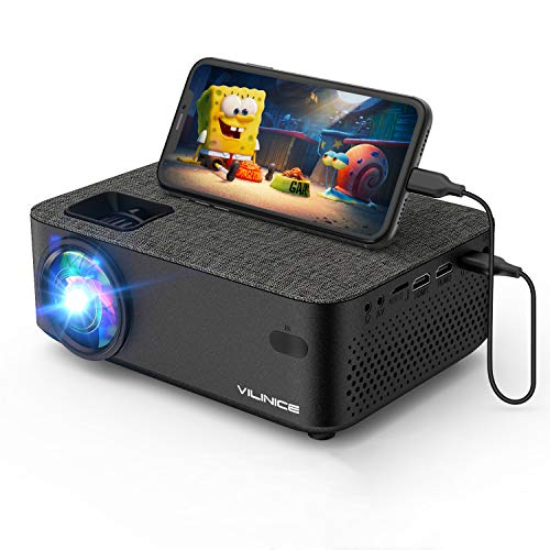 "Mini Beamer, VILINICE Heimkino Beamer Full HD, WiFi Projektor mit 5500 Lumen unterstützt 1080P Multimedia 240\"" , Video Beamer LED kompatibel mit TV Stick, HDMI, SD, AV, VGA, USB, PS4, Smartphone"