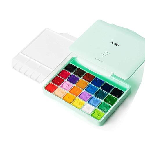 Btrice (Grün) 24-Farben-Gouache-Farbset, Aquarell-Farbset Mit Gelee-Tasse (Tragbare Palette), 18 Leuchtende Farben Für Künstlerstudenten