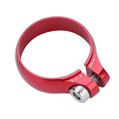 Abrazadera de Poste de Asiento de Bicicletas, Abrazadera Tija Sillín de Bicicleta de Montaña Rápida Liberación de Fibra de Carbono 31.8mm para 27.2 Tija de Sillín Súper Ligero(Rojo)