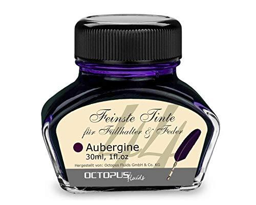 Füllhaltertinte, Schreibtinte für Füllhalter und Glasfedern, Kalligrafietinte, Füllertinte Aubergine, 30 ml im Tintenfass