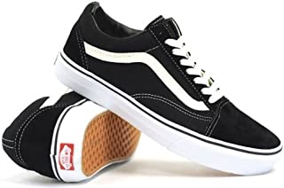 Vans Unisex Old Skool Skate Shoe (7.5 B(M) US Women/6 D(M) US Men, Canvas Black/True White)