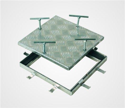 Schachtabdeckung ECO-RIWA aus Aluminium Riffelblech, bodenerhaben, Aufbauhöhe 50 mm, ABVERKAUF!!