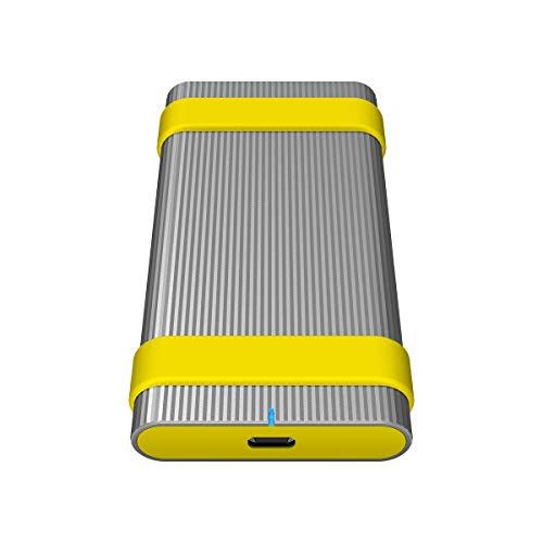 Sony Sl-MG5 Externe SSD-Festplatte (500 GB, bis 1.000Mbps/s Schreiben/Lesen, Staub- und Wasserdicht (IP67), USB 3.1 Typ-C, inkl. Etiketten und Gummiband, 256-Bit-Verschlüsselung), Aluminium Silber
