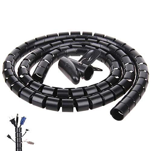 Black Spiral Winding Cable Management Pipe Wire Wrap Line Coiled Tube, Flexible Cord Covered Protective Bundler Sleeve Hose for Office, Computer, TV, and Car (Length 10ft- Dia 1.1inch)