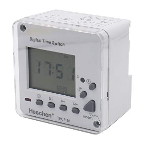 Heschen Digitale LCD-Zeitschaltuhr, wöchentlich programmierbar, elektronisch, THC711A, 220-240 V AC, LED-Anzeige CE