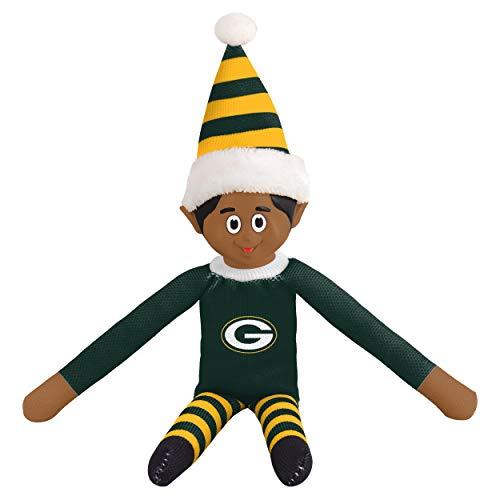 FOCO Ebony NFL Green Bay Packers Bench Buddy Shelf Elf - Limited Edition NFL Team Christmas Elf - Plush Toy Travel Companion, Home or Tailgate