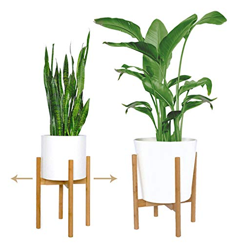 "mini + MOD Mid Century Plant Stands. Get 2 adjustable indoor plant stand/plant holder (8""-12"") in natural bamboo. Plant stands indoor. Used as tall plant stand or flower stand [plant pot NOT included]"