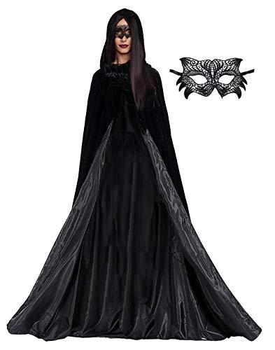 JSICILY Capa de Bruja Medieval con Capucha para Halloween, Disfraz para Cosplay de Adultos - Negro Large