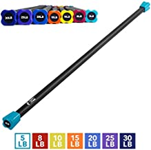 "Day 1 Fitness Weighted Workout Bar with Rubber Padding, 48"", 5 LBS - Heavy-Duty, Solid Steel Exercise Bar for Physical Therapy, Aerobics, Yoga, Pilates - Premium Crossfit Equipment"