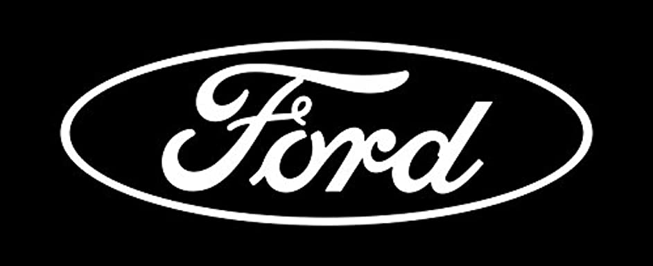 Ford Rear Window Oval Decal White 24