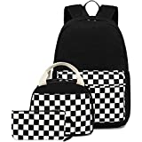CAMTOP School Backpack Canvas Laptop Backpack Teens Bookbag Set Lunch Bag Pencil Case for Girls Boys(Checkerboard Black)