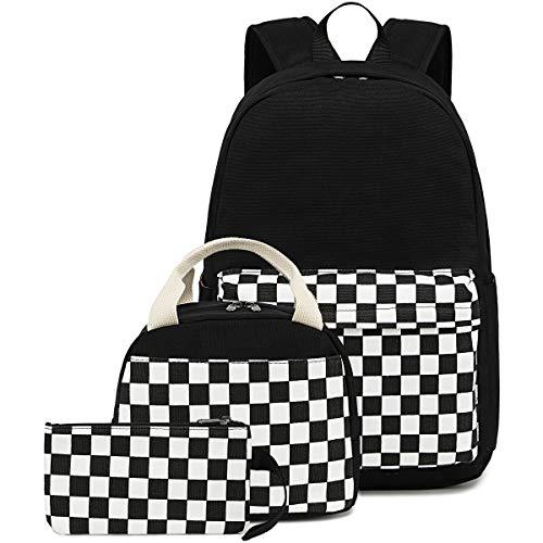 CAMTOP School Backpack Canvas Laptop Backpack Teens Bookbag Set Lunch Bag Pencil Case for Girls Boys(Checkerboard Black)