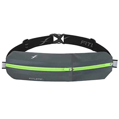 Fitletic Unisex's Bolt Running Belt, Grey/Green, One Size