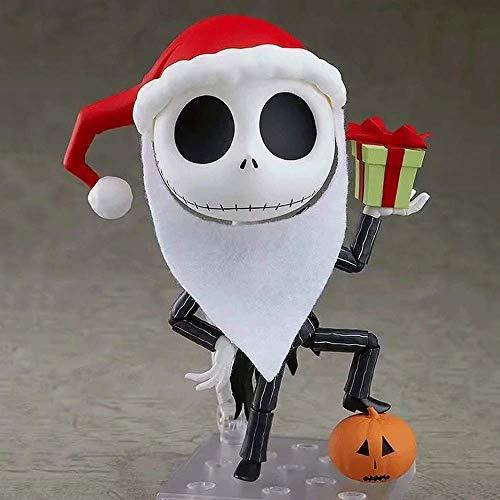 FUYUNLAI Pesadilla Antes de Navidad/Jack Skellington/Versión Q/Figuras de Anime/Cara Intercambiable/Modelo de Personaje de Juego de Dibujos Animados de PVC Anime/Figura de Juguete/Decora