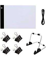Hieefi Mesa de Luz A4, Tablero Dibujo con Luz Led A4,5d Diamante Pintura Juegos De Luces Pad A4 Led Light Kit para Diamond Pintura 7pcs Sketching