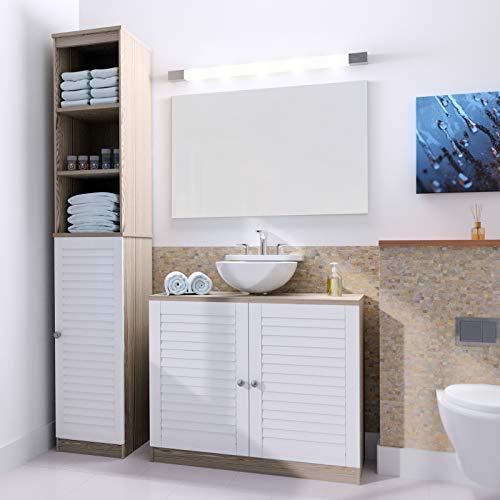 Deuba Badmöbel Set Weiß Eiche Waschbeckenunterschrank & Badezimmerhochschrank Unterschrank Hochschrank Bad Regal Holz