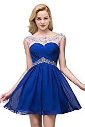 Royal Blue Chiffon Prom Homecoming Dress with Crystal Beading