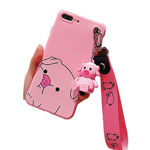 for iPhone Xs Max Case, for iPhone Xs Max Cover, Cute Pig Doll Kickstand Holder Tassel Lanyard Soft Case Cover for iPhone Xs Max XR 6S 7 8 Plus (Tired Pig, for iPhone 7 Plus/8 Plus)