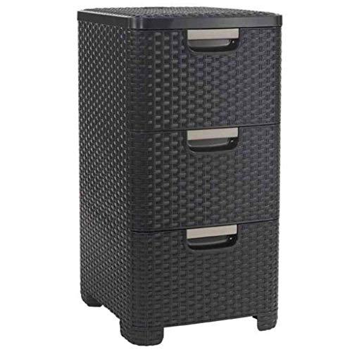 CURVER | Tour de rangement Style 3 tiroirs, Aspect rotin, Marron foncé, 37,8 x 32,8 x 59,5 cm, Plastique