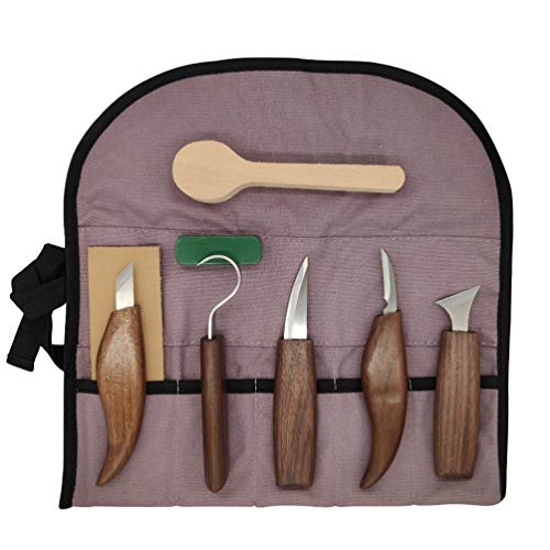 EXCEART Wood Carving Tools 7 in 1 Wood Carving Kit with Carving Hook Knife Wood Whittling Knife Chip Carving Knife Sharpener for Beginners Woodworking Kit with Spoon