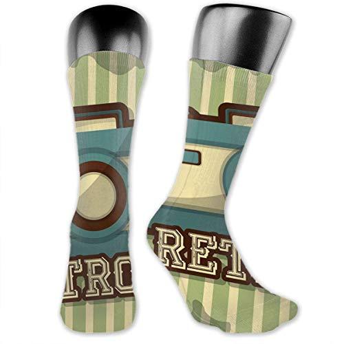 Bert-Collins Calcetines personalizados con icono de cámara retro para hombres y mujeres, medias medianas para correr, deportes, viajes, uso diario
