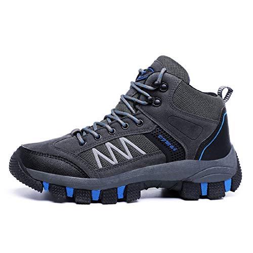 LILY999 Scarpe da Trekking Uomo Impermeabile Scarpe da Escursionismo Arrampicata Stivali da Neve Inverno Hiking Boots(Grigio,44 EU)