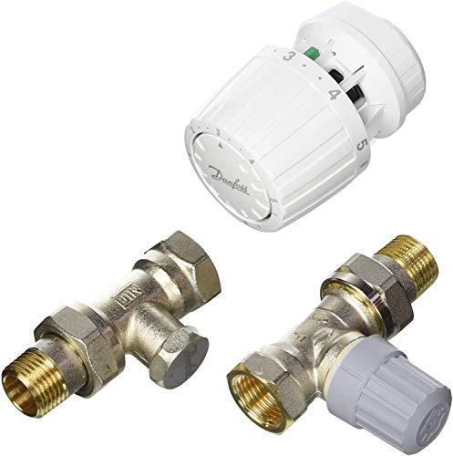 Danfoss 013G5218 Pack tête thermostatique Technologie gaz pour la rénovation RA2990 + Corps RA-FN 1/2' Droit + té RLV-S 15, Blanc